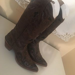 Corral Chocolate/Black Lizard Inlay Boots